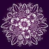 Ornement circulaire de vecteur avec les fleurs ethniques Photo libre de droits