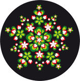 Ornement circulaire des fleurs et des lames Photographie stock libre de droits