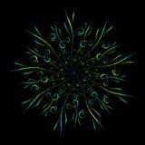 Ornement circulaire floral abstrait dans des couleurs bleues et jaunes sur le noir illustration libre de droits