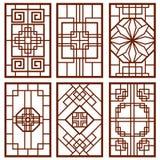 Ornement coréen traditionnel de porte et de fenêtre, conception de mur chinois, ensemble de vecteur de cadres du Japon illustration libre de droits