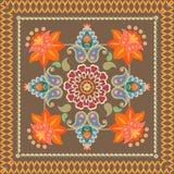 Ornement décoratif avec Paisley dans le style indonésien batik Copie de Bandana, serviette, tapis illustration stock