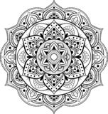Ornement décoratif dans le style oriental ethnique Modèle circulaire sous la forme de mandala pour le henné, Mehndi, tatouage, dé illustration libre de droits
