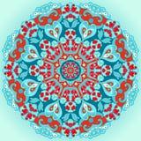 Ornement décoratif rond de fleur de turquoise Images stock