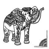 Ornement d'éléphant et de mehendi Image stock