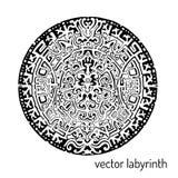 Ornement d'abrégé sur labyrinthe de mandala Trouvez la voie D'isolement sur le blanc Image libre de droits