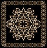Ornement d'or de luxe avec le motif d'étoile de David dans le cadre en filigrane d'or sur le fond noir Symbole religieux juif de  illustration libre de droits