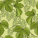 Ornement d'houblon sur le fond grunge vert, vecteur Photo stock