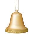 Ornement de Bell de Noël d'or sur le fond blanc. Photographie stock libre de droits