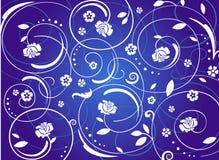 Ornement de cru avec des rouses, bleus Illustration Stock