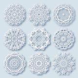 Ornement de dentelle de cercle, géométrique ornemental rond illustration stock