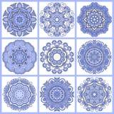 Ornement de dentelle de cercle, géométrique ornemental rond illustration libre de droits