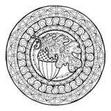 Ornement de feuille d'automne de cercle Mandala tiré par la main d'hiver d'art Fait par la trace à partir du croquis Photo libre de droits