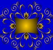 Ornement de l'or d'enroulement (en) avec la couleur Images stock