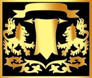 Ornement de l'or (en) avec le papyrus Image stock