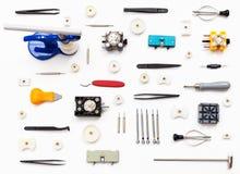 Ornement de la diverse montre réparant des outils Images stock