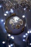Ornement de Noël avec la fleur argentée Photos stock