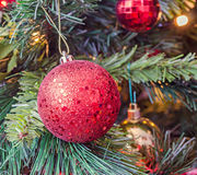 Ornement de Noël, cloche, globe accrochant, étincelles, flocon de neige, or, Joyeux Noël, arbre vert Images libres de droits