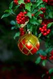 Ornement de Noël de baies de houx Image libre de droits