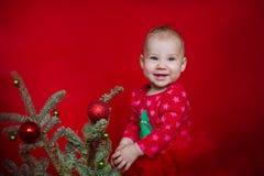 Ornement de Noël de fixation de petite fille Image libre de droits