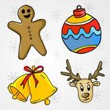 Ornement de Noël 4 - Ginger Bread, babiole, Bell et cerf commun illustration libre de droits