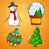 Ornement de Noël 4 - homme de neige, babiole, arbre de Noël et neige illustration de vecteur