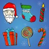 Ornement de Noël 6 - Santa Claus, cadeau, bougie, chaussette, lucette illustration libre de droits