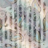 Ornement de Paisley avec les rayures grunges Photos libres de droits