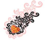 Ornement de Valentine avec des coeur-formes Photo stock