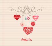 Ornement de valentines de griffonnage d'aspiration de main Photo stock