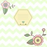 Ornement de zigzag avec les fleurs et le cadre Bloc-notes Illustration Libre de Droits