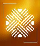 Ornement en forme de coeur de trèfle au-dessus de fond polygonal Images libres de droits