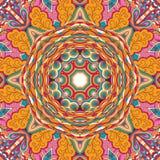 Ornement ethnique de mehndi de filigrane Motif apaisant discret indifférent, conception harmonieuse colorée gribouillante utilisa Photo libre de droits
