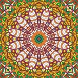 Ornement ethnique de mehndi de filigrane Motif apaisant discret indifférent, conception harmonieuse colorée gribouillante utilisa Photo stock