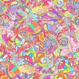 Ornement ethnique de mehndi de filigrane Motif apaisant discret indifférent, conception harmonieuse colorée gribouillante utilisa Images libres de droits