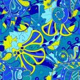 Ornement ethnique de mehndi de filigrane Motif apaisant discret indifférent, conception harmonieuse colorée gribouillante utilisa Images stock