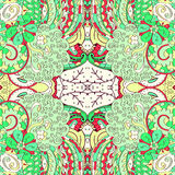 Ornement ethnique de mehndi de filigrane Motif apaisant discret indifférent, conception harmonieuse colorée gribouillante utilisa Image stock
