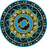 Ornement, faïence de Delft circulaire et coquille colorés Image stock