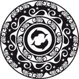 Ornement, faïence de Delft circulaire et coquille noirs et blancs Image stock
