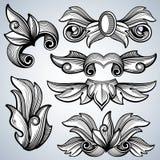 Ornement fleuri décoratif de rouleau de gravure, feuilles d'ensemble baroque de vecteur de frontière de cadre de victorian Photographie stock