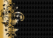 Ornement floral abstrait dans des couleurs de noir et d'or Image stock