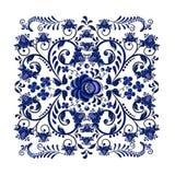 Ornement floral bleu-foncé dans le style russe national Gzhel sur le fond blanc illustration de vecteur