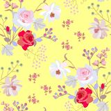 Ornement floral d'été sans couture avec des bunchs des baies de fleurs de jardin et de cerise d'oiseau d'isolement sur le fond ja illustration de vecteur