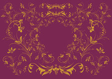Ornement floral d'or sur le fond lilas Illustration Stock