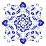 Ornement floral dans le style russe Gzhel illustration stock