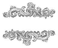 Ornement floral de belle calligraphie décorative baroque de style illustration libre de droits