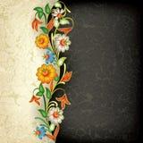 Ornement floral grunge abstrait avec des fleurs Photos stock
