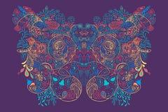 Ornement floral plat artistique abstrait avec des vagues Images libres de droits
