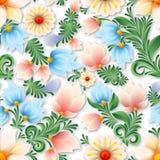 Ornement floral sans couture de ressort abstrait sur le fond bleu Image stock