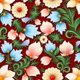 Ornement floral sans couture de ressort abstrait sur le fond bleu Photos stock