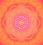 Ornement floral sans couture orange et rouge en pastel centré Photo stock